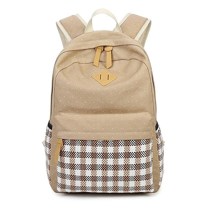 Minetom Lona Backpack Mochilas Escolares Mochila Escolar Casual Bolsa Viaje Moda Tartán Estilo De La Señora