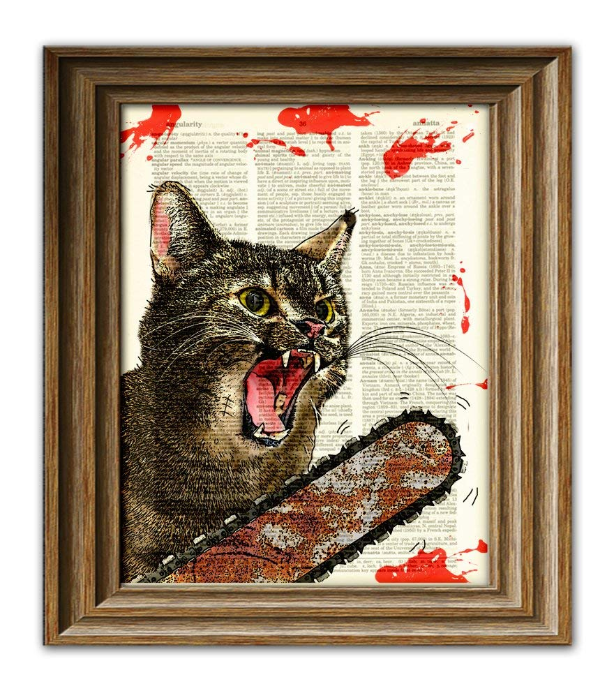 Cat Killer Blood-Splattered Chainsaw Cat From Texas Will Massacre You Illustration Dictionary Page Book Art Print