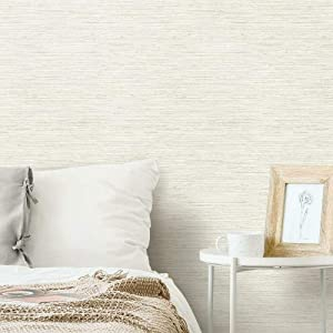 RoomMates RMK11562WP Beige & Grey Grasscloth Peel and Stick Removable Wallpaper