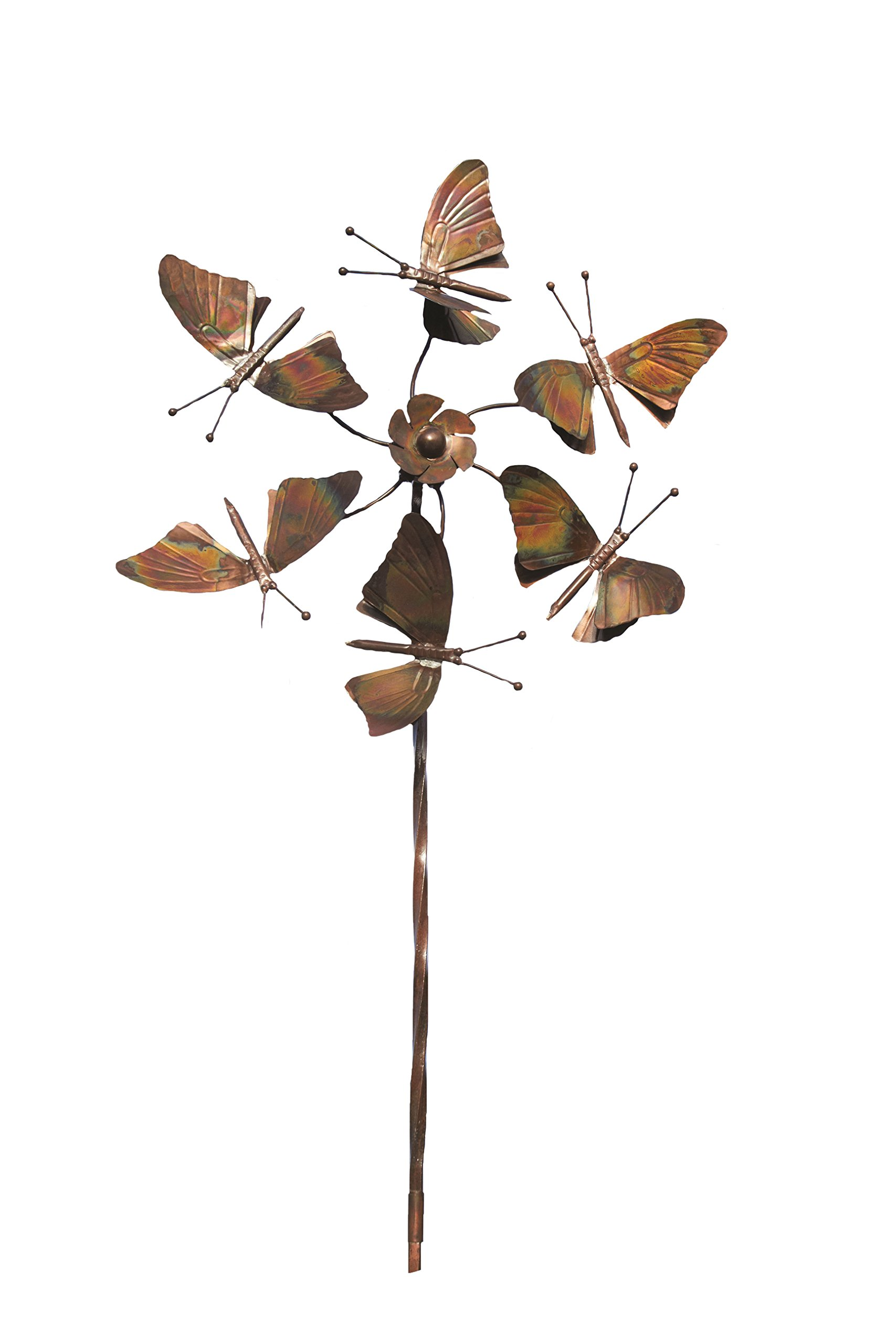 Ancient Graffiti Flamed Butterflies Fluttering Spinner Stake, 22 by 66-Inch