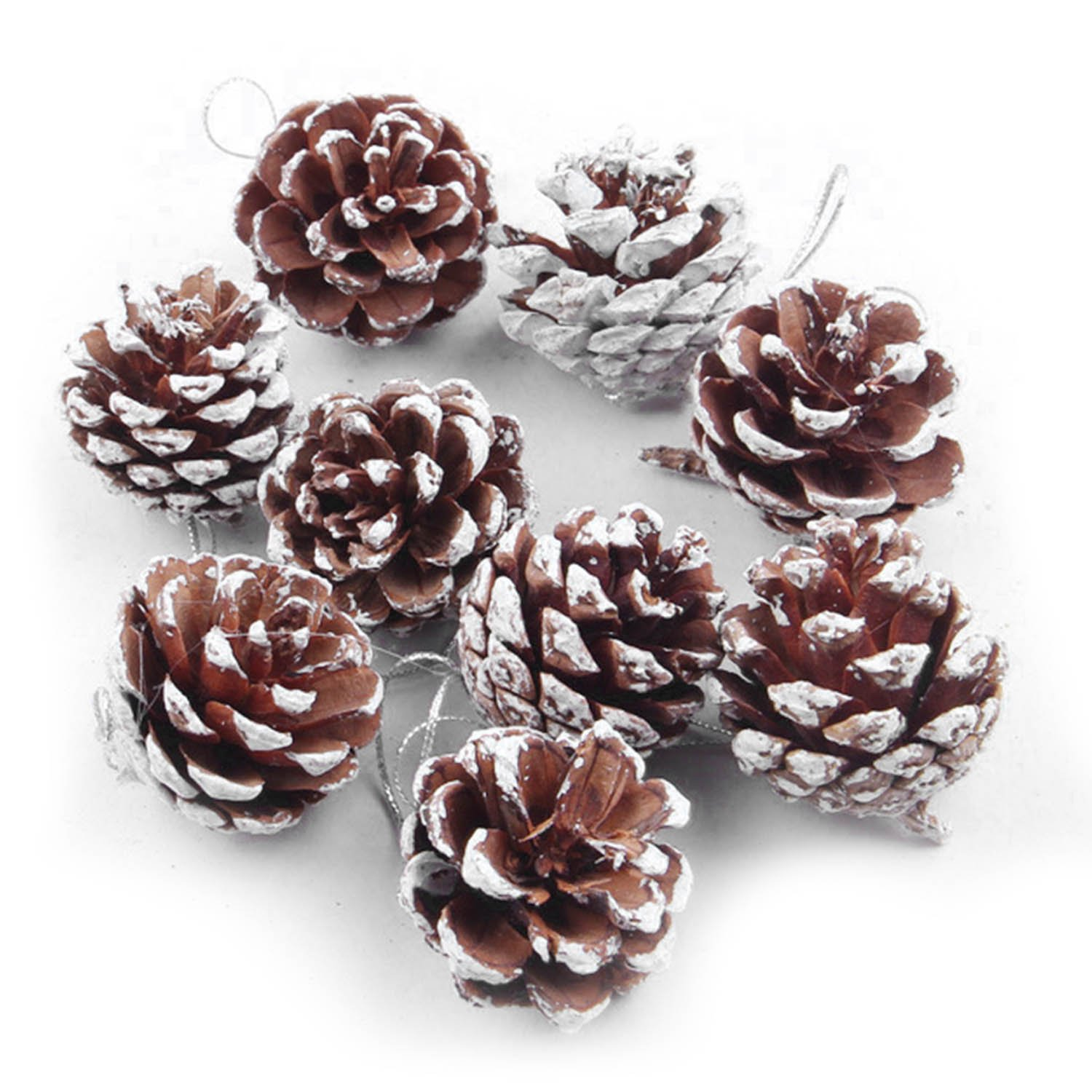 54 PCS Wooden Xmas Christmas Tree Pine Cone Hanging Ornament Holiday Party Home Decor Decoration Supplies Gosear