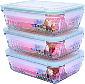 Glasslock Retro Tempermax Rectangular Glass Food-Storage Container with Locking Airtight Lids Oven and Microwave Safe 25 oz / 740 ml 6pc Set