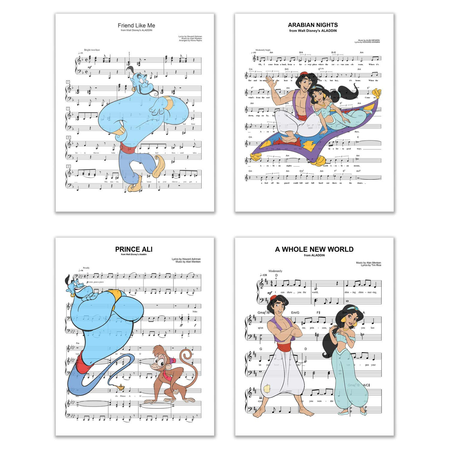 Aladdin Song Photos - Set of 4 (8 inches x 10 inches) Music Sheet Poster Prints - Princess Jasmine Genie Abu