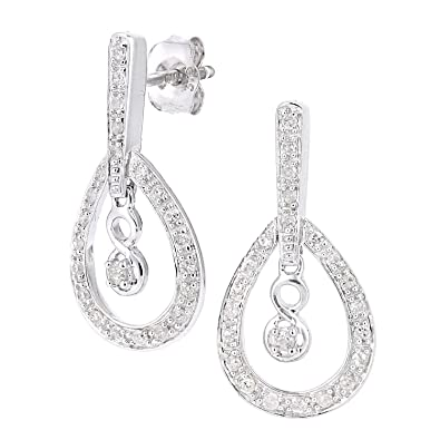 Naava Women's 9ct White Gold Diamond Teardrop Stud Earrings t3WVrjDf20