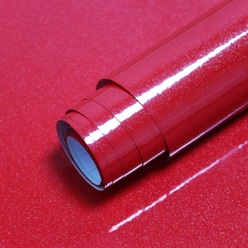 """15.7""""x118.1""""Glossy Red Contact Paper Red Glossy Wallpaper Waterproof Red Self Adhesive Paper Removable Shiny Peel and Stick Paper Decorative Cabinets Kitchen Furniture Countertop Vinyl Film Roll"""