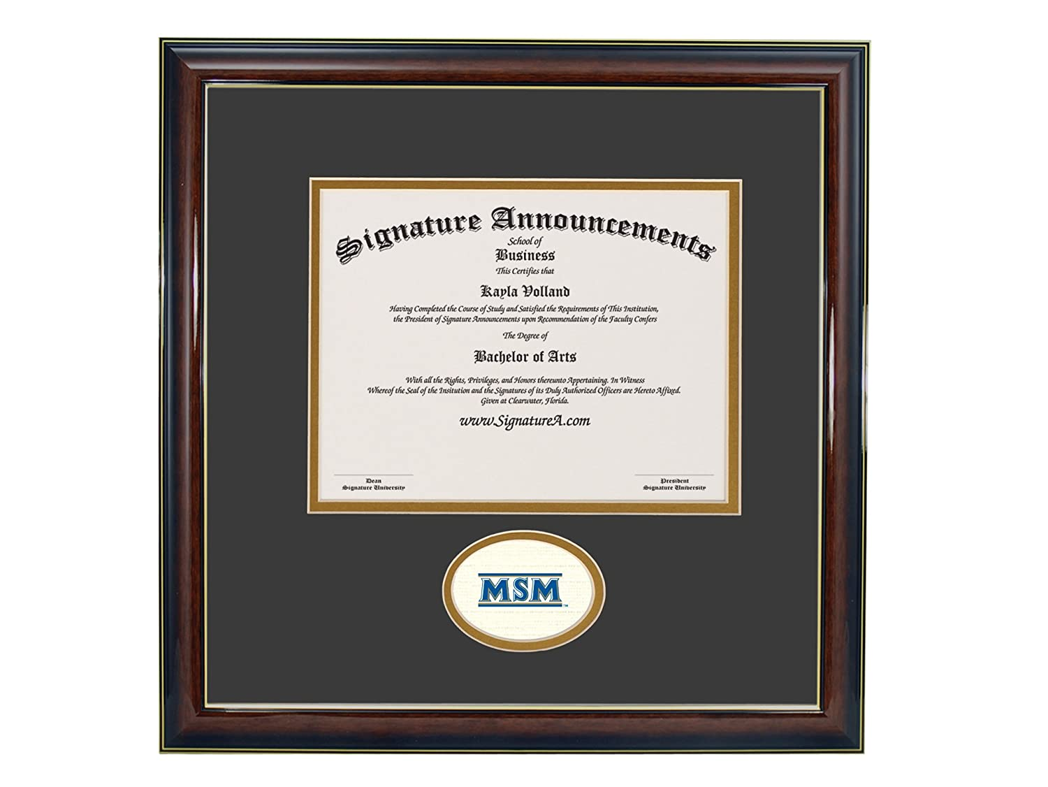 Signature Announcements Mount-St-Marys-University Sculpted Foil Seal Graduation Diploma Frame 16 x 16 Gold Accent Gloss Mahogany