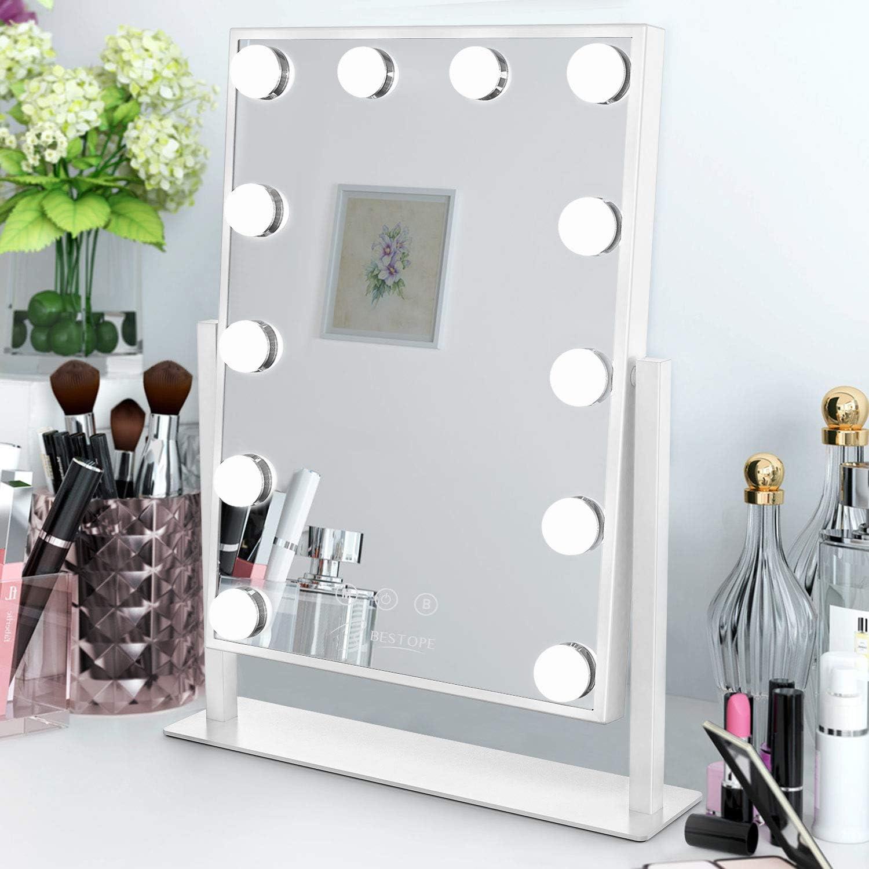 Hollywood Specchio Trucco a LED 3 modalit/à Colore Luminosit/à Regolabile Controllo Touch Bestope Specchio per Trucco con 12 LED Luci Specchio Ingrandimento 10X Porta di Ricarica USB Girevole 360 /°