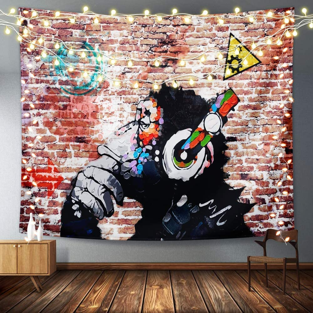 EZYES Music Banksy Headphone Monkey Tapestry Wall Hanging Polyester Tapestries With Hd Prints,Lightweight,Soft,No-Fading For Dorm, Bedroom, Livingroom Decor 60*40inch