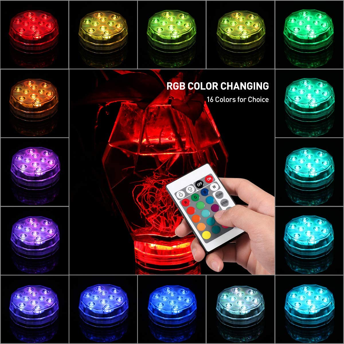 RGB Underwater LED Lights Submersible Multicolor for bar pool lawn 12//24pcs USA