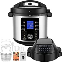 Pressure Cooker Air Fryer Combo, 17-In-1 Instapot with Nesting Broil Rack, Foodie Grill and Air Fryer , Food Steamer 6…