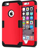 iPhone 6S Plus Case, iPhone 6 Plus Case, BENTOBEN Drop Protection Shockproof 3 in 1 Hybrid Hard PC Covers Soft Silicone Bumper Full Body Protective Case for iPhone 6 Plus / 6S Plus (5.5 Inch), Red