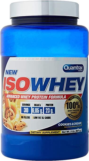 Quamtrax Proteina Iso whey sabor cookies & cream -907 gr 30 servicios