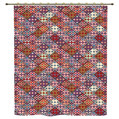 iPrint Shower Curtain,Native American Decor,Ethnic Nomadic Rug Looking Seamless Pattern,Polyester Shower Curtains Bathroom Decor Sets with Hooks