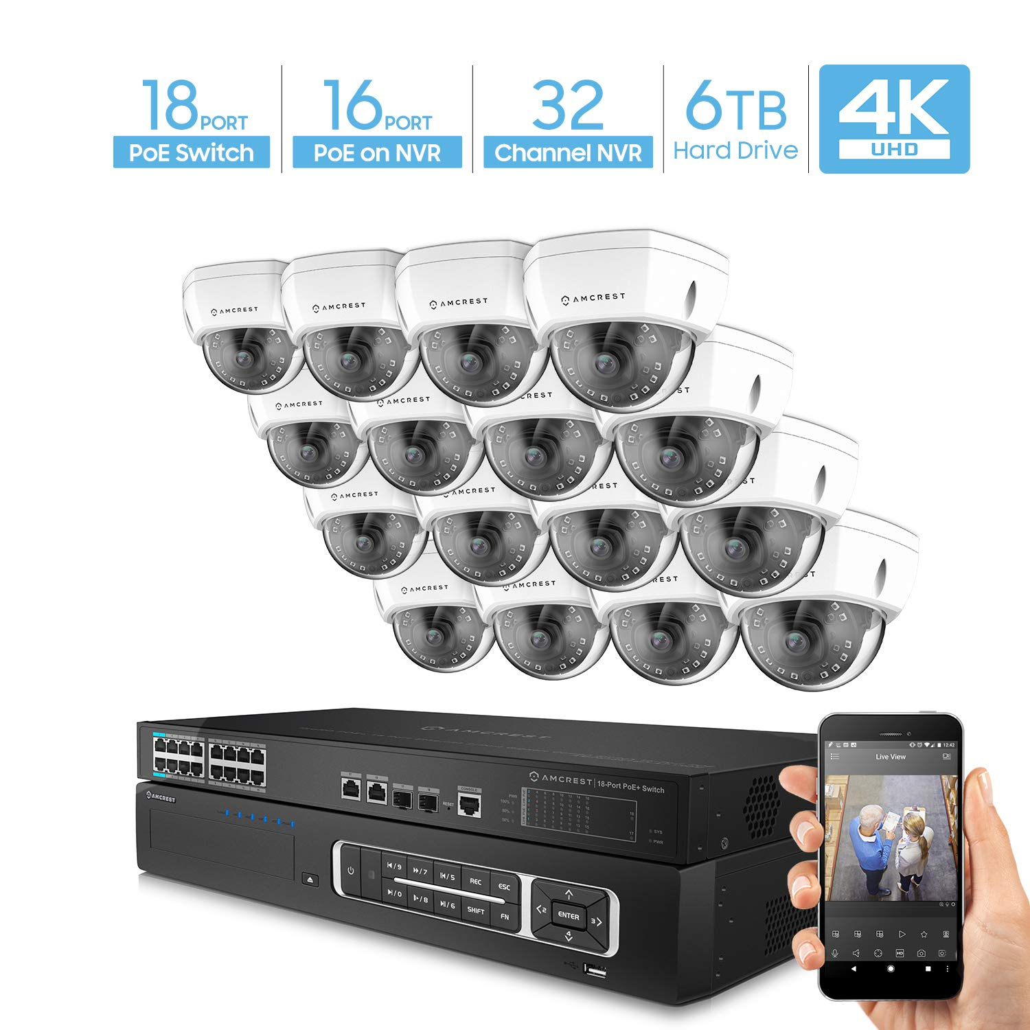 Amcrest 4K UltraHD Video Security Camera System w/ 4K 32CH PoE NVR, (16) x 4K Dome IP PoE Cameras, 18-Port PoE+ Switch w/Gigabit Uplink, Pre-Installed 6TB Hard Drive (Supports up to 24TB) (White) by Amcrest