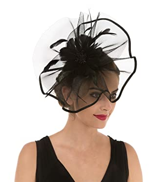 39301dd3c8370 Fascinator Hat Feather Mesh Net Veil Party Hat Flower Derby Hat with Clip  and Hairband for Women (A1-Large Black Mesh)  Amazon.co.uk  Clothing