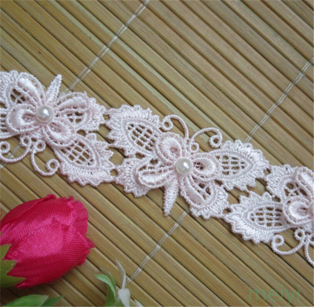 2 Yard Butterfly Pearl Lace Trim Ribbon Applique Embellishment for Sewing on Clothes Bridal Dress (Off White) Qiuda