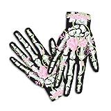 Scary Mary Skeleton Halloween Costume Gloves for Female, Hot Pink (Roses & Bones)