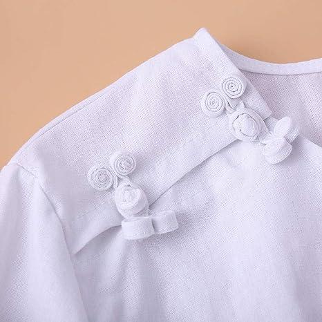Luckycat Camisa de Manga Larga con Cuello Redondo de algodón y Lino: Amazon.es: Ropa y accesorios