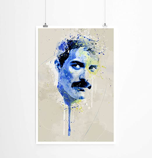 gerollt Paul Sinus Art Freddie Mercury VI Tableau sur Toile avec Cadre diff/érent ou Tasse 90 x 60 cm Poster 90x60cm