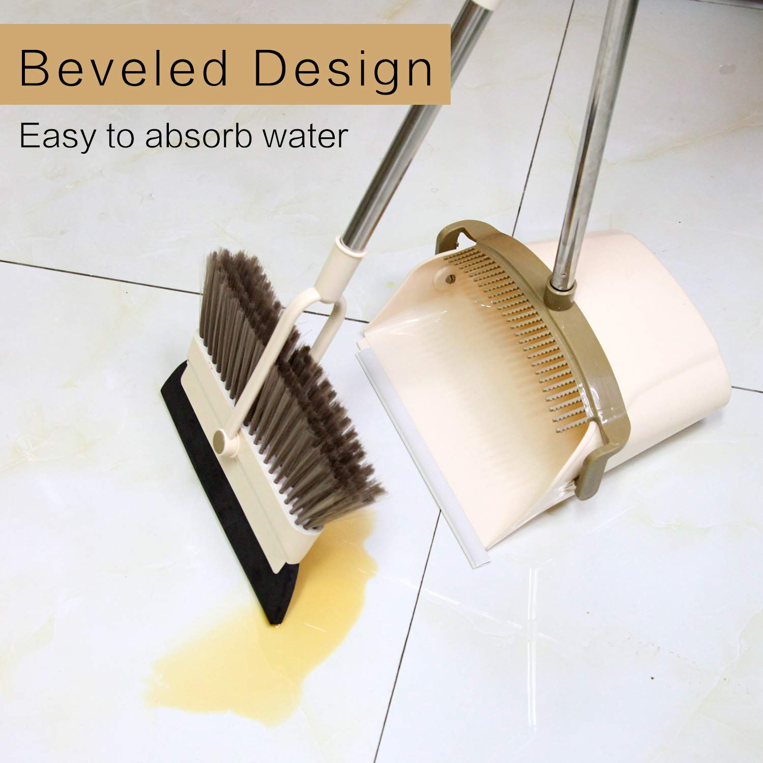 MOCREO Dustpan and Broom and Floor Squeegee Set, Dustpan Cleans Broom Combo with Long Handle For Home Kitchen Room/Office/Lobby Floor, Use Upright Stand Up Dustpan Broom & Squeegee Set by MOCREO (Image #5)