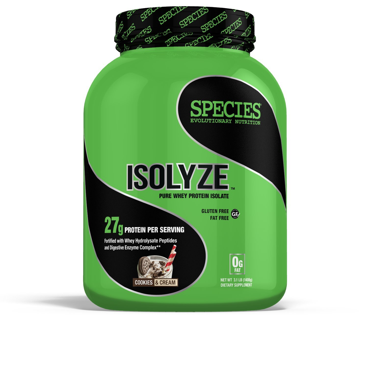 Species Nutrition Isolyze, Cookies and Cream, 3.1 Pound (Pack of 4)