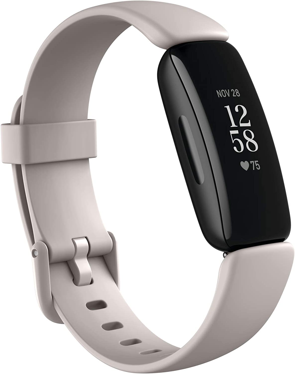 Fitbit Inspire 2 Health & Fitness Tracker with a Free 1-Year Fitbit Premium Trial, 24/7 Heart Rate, Black/White, One Size (S & L Bands Included)