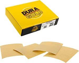 "Dura-Gold - Premium - 120 Grit Gold - 1/4 Sheet Hook & Loop or Clip On Sandpaper 5.5"" x 4.5"" - For Automotive & Wookworking Palm Sanders - Box of 25"