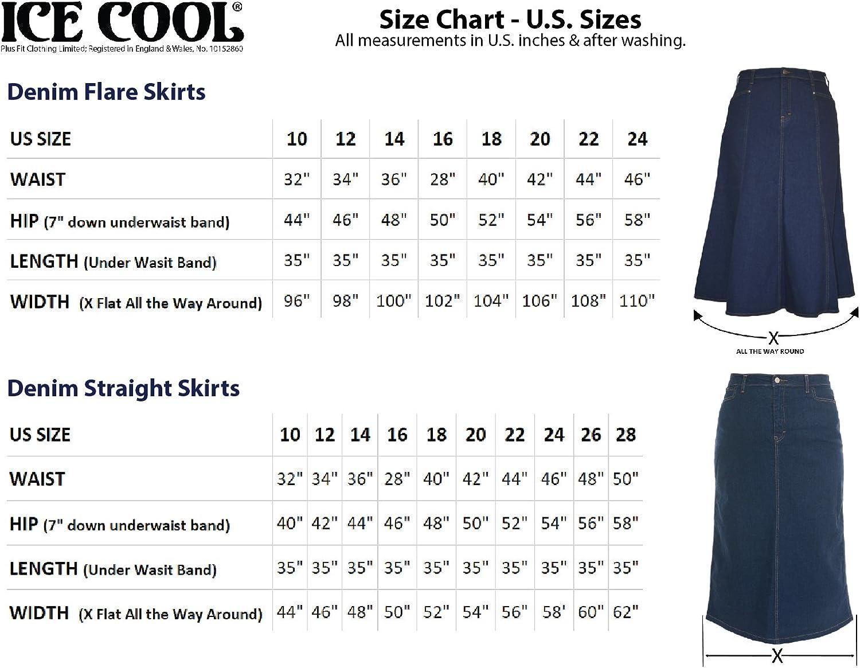 "Ice Cool Ladies Women's Indigo Stretch Denim Maxi Skirt Sizes 10 to 28. Length 35"" Indigo Blue"