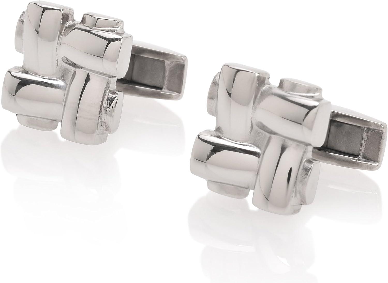 De Lorenzo of New York Titanium Luxury Polished Knot Cufflinks
