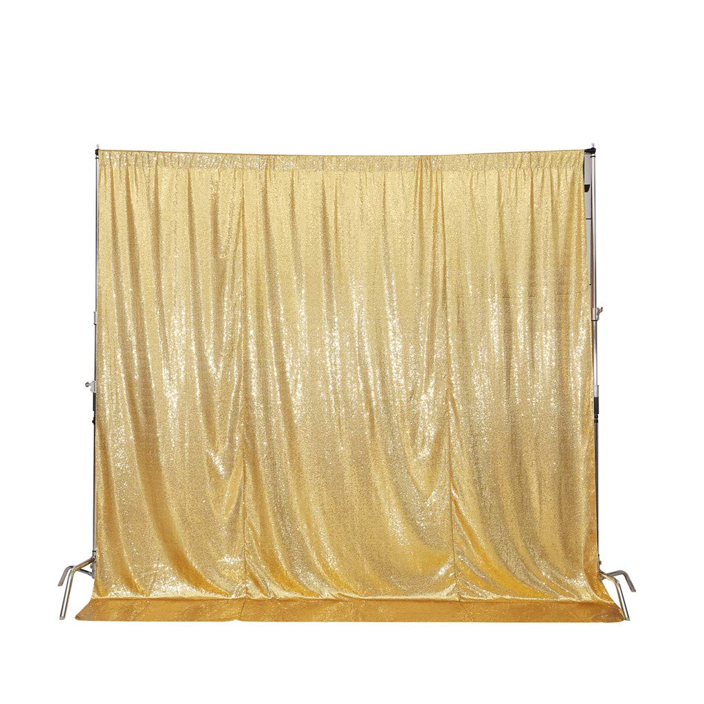 Juya Delight 5FT X 6FT Non-Transparent Sequin Photography Backdrop for Birthday Party Wedding Decoration (Gold) by Juya Delight