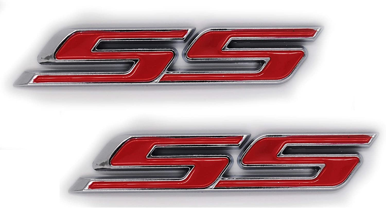3D Metal Red SS Racing Front Hood Grille Badge Emblem Car Decoration SS Logo