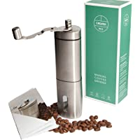 Manual Coffee Grinder, Portable for Coffee on The Go, Easy to Adjust Grind This Stainless Steel Hand Coffee Grinder has a Bonus E-Book and Instruction Booklet, Makes a Wonderful Gift
