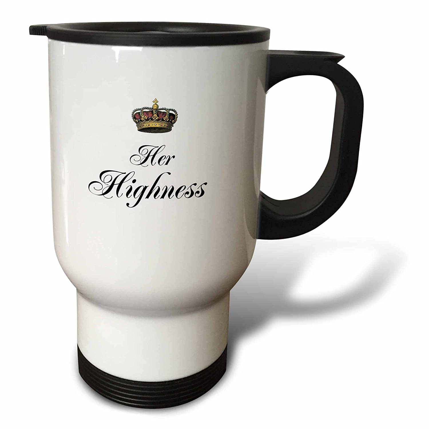 14 oz 3dpink tm_112866_1  Her Highness Part of a His and Hers Couple Gift Set Funny Humgoldus Royalty Humor Mr. and Mrs. Travel Mug, 14 oz, Multicolor