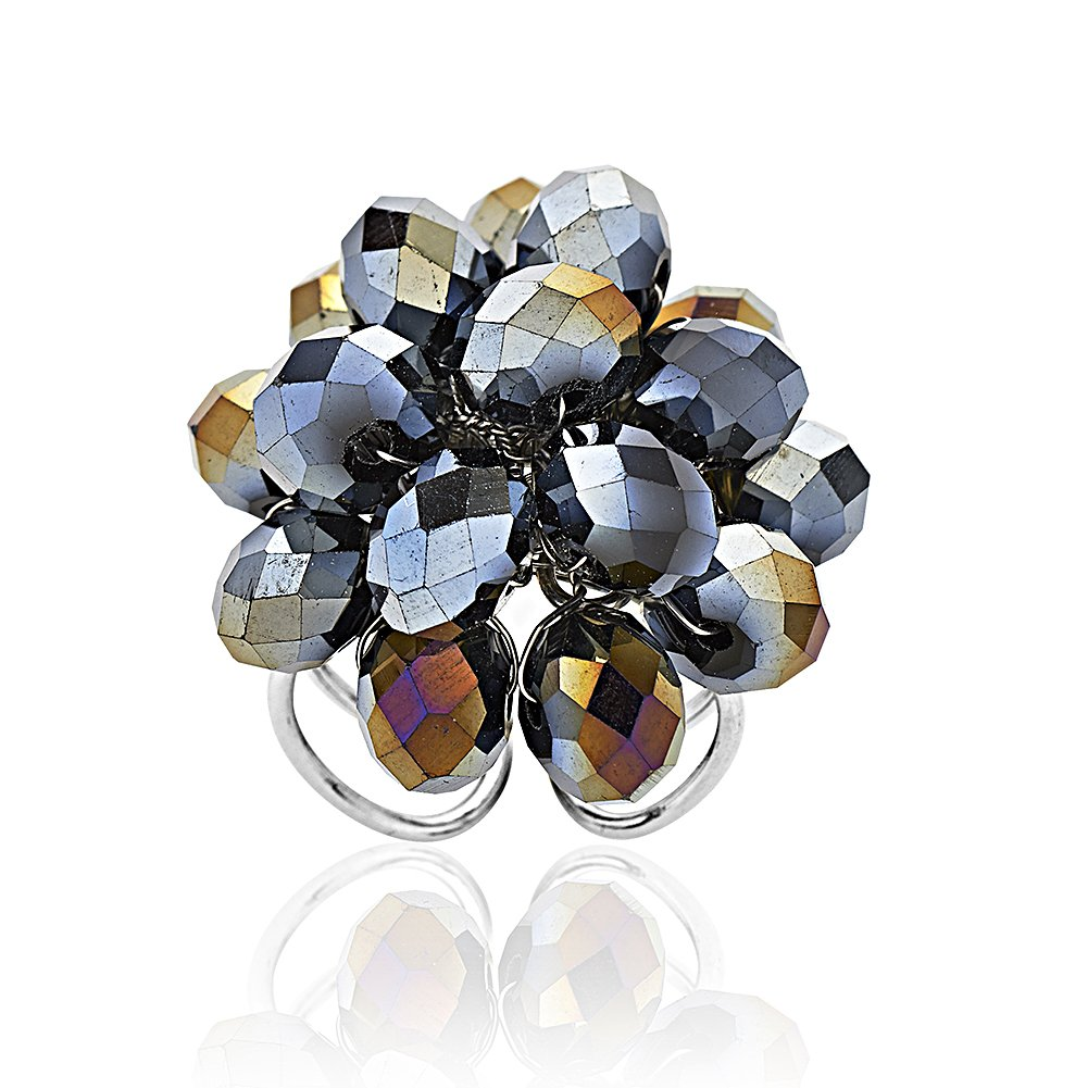 Zinc Handwired Black Crystal Glass Beads Cluster Adjustable Ring