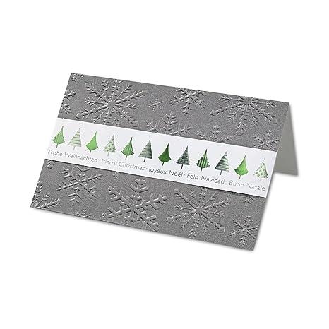 Moldes de tarjeta de Navidad (DIN B6 | verde de plata de prägungen & Blind