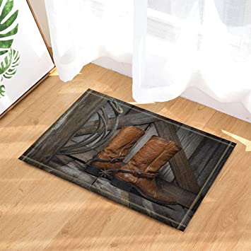 Amazon Com Nymb Farm Decor Cowboy Boots On Wooden Bath Rugs For