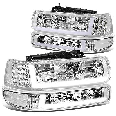 DNA MOTORING HL-LB-CSIL99-CH-CL1 Pair LED DRL Headlight Bumper Lamps, Chrome/Clear: Automotive