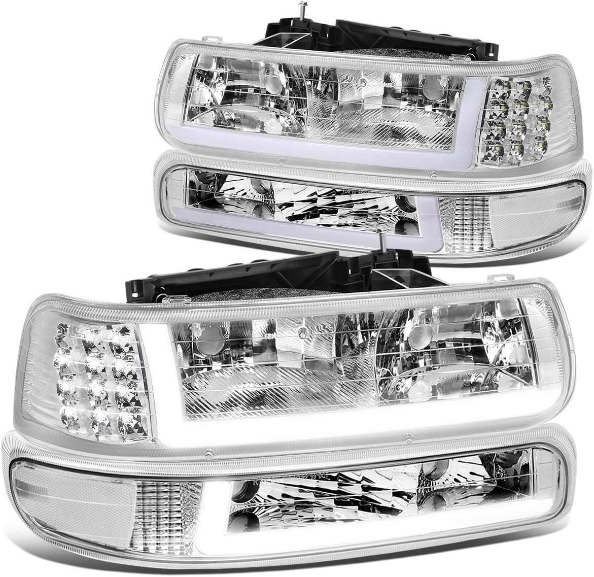 Amber DNA MOTORING Black//Amber HL-LB-CSIL99-BK-AM Pair LED DRL Headlight Bumper Lamps,Black