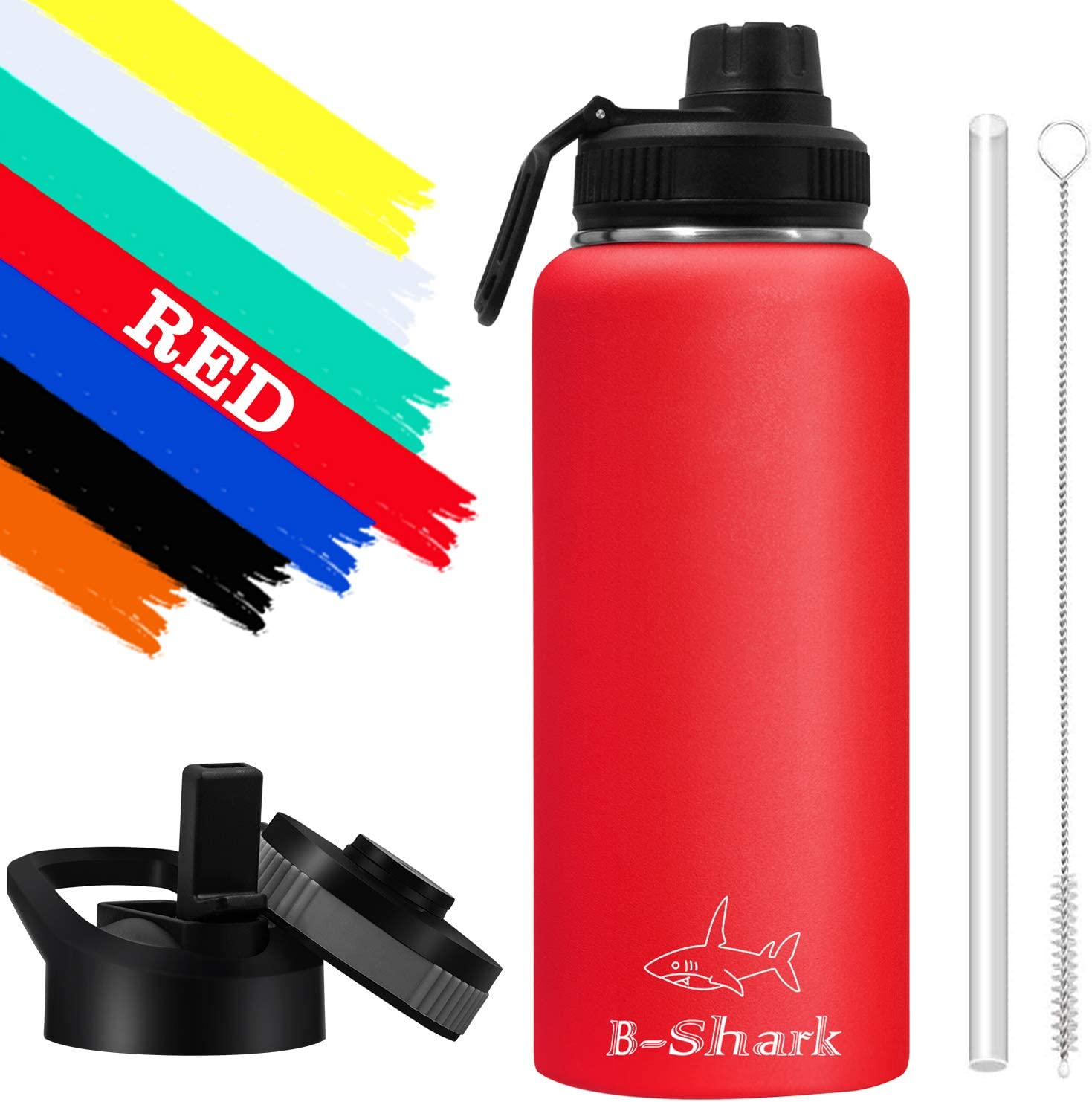 Double Wall Vacuum Stainless Steel Water Bottle Keeps Hot or Cold Thermos for Home Office 32 Oz Water Bottle Leak Proof Sports Water Bottle with Wide Mouth for Camping Travel