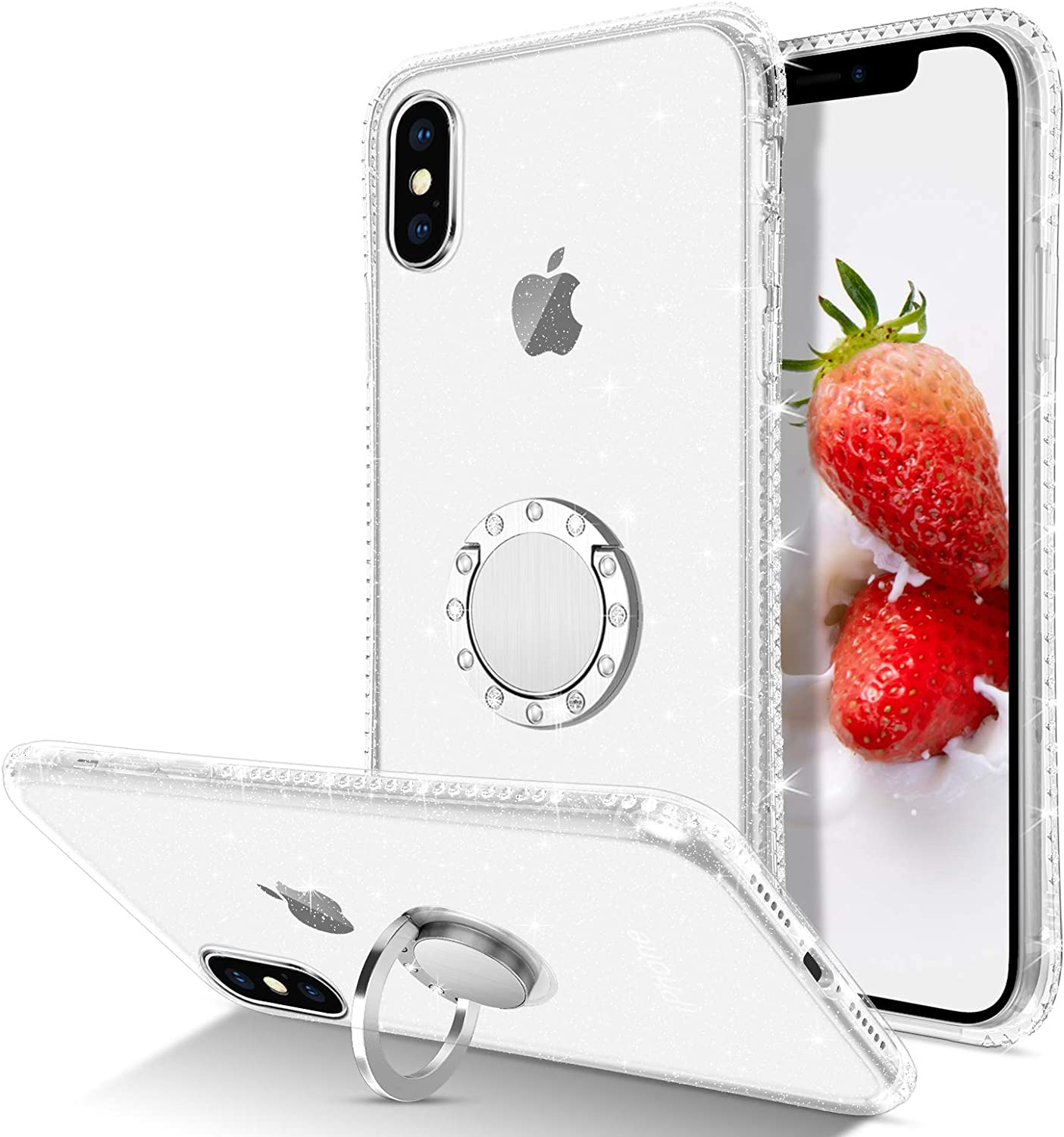 BENTOBEN iPhone X Case, iPhone Xs Case, Slim Clear | 360° Ring Holder Kickstand | Rhinestone Soft Rubber Hybrid Shockproof Protective Girls Women Cover for iPhone Xs/X 5.8 inch, Clear Glitter