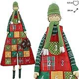 matches21 Wunderschöner XXL Adventskalender zum Befüllen 160 cm zum Aufhängen mit großen Taschen Junge