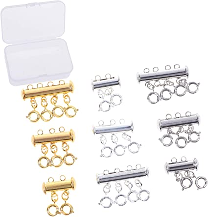 5-Strand Clasp Magnetic Slide Lock Silver Plated Jewelry Supplies
