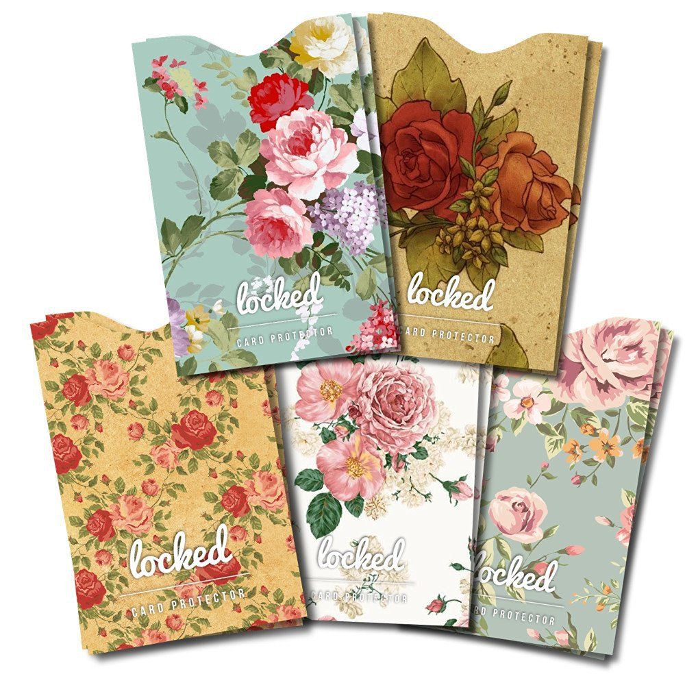 Credit Card Protector - Premium QUALITY RFID Sleeves in Vintage Floral (10 RFID Blocking Sleeves & Gift Box). Keeping You Safe in Style From Credit Card Fraud 100%