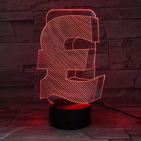 Symbole De La Livre Sterling 3d Led Lampe Interieure Usb 3d