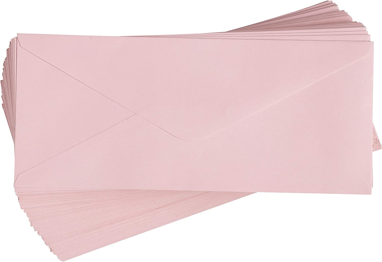Business Envelopes - 96-Pack #10 Envelopes, V-Flap Envelopes for Holiday, Office, Checks, Invoices, Letters, Mailings, Windowless Design, Gummed Seal, Blush Pink, 4-1/8 x 9-1/2 Inches