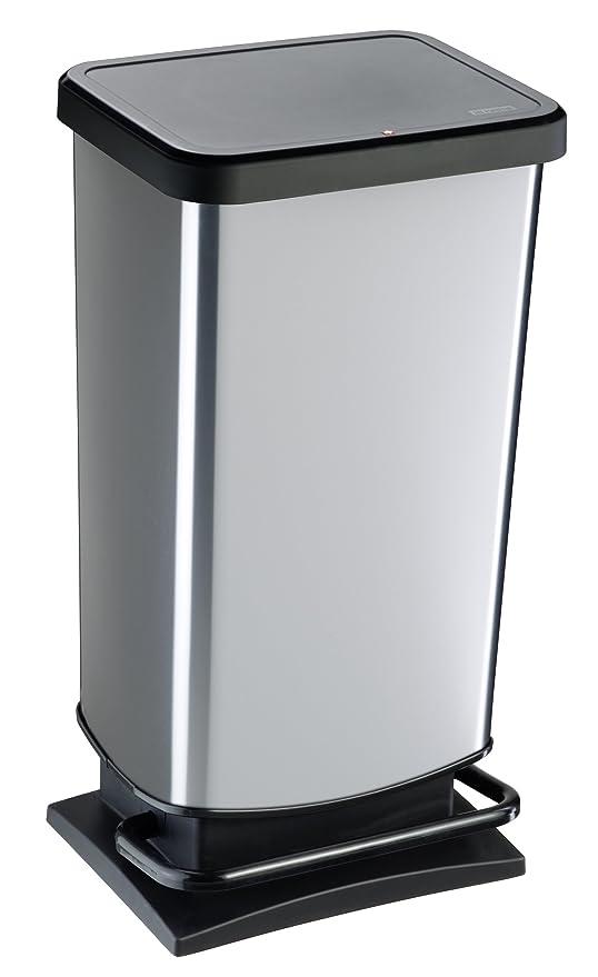 Rotho Paso - Contenedor de basura ermético a olores, con pedal, 40 L, Plateado, 35,3 x 29,5 x 67,6 cm