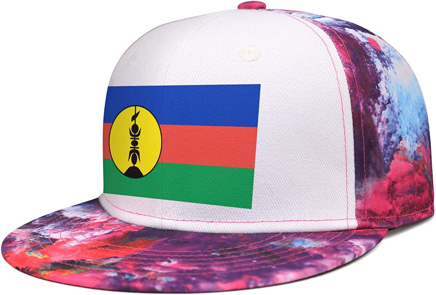 NNJA New Caledonia Flag State Seal Unisex Flat One Size Low Profile Distressed Snapback Hat