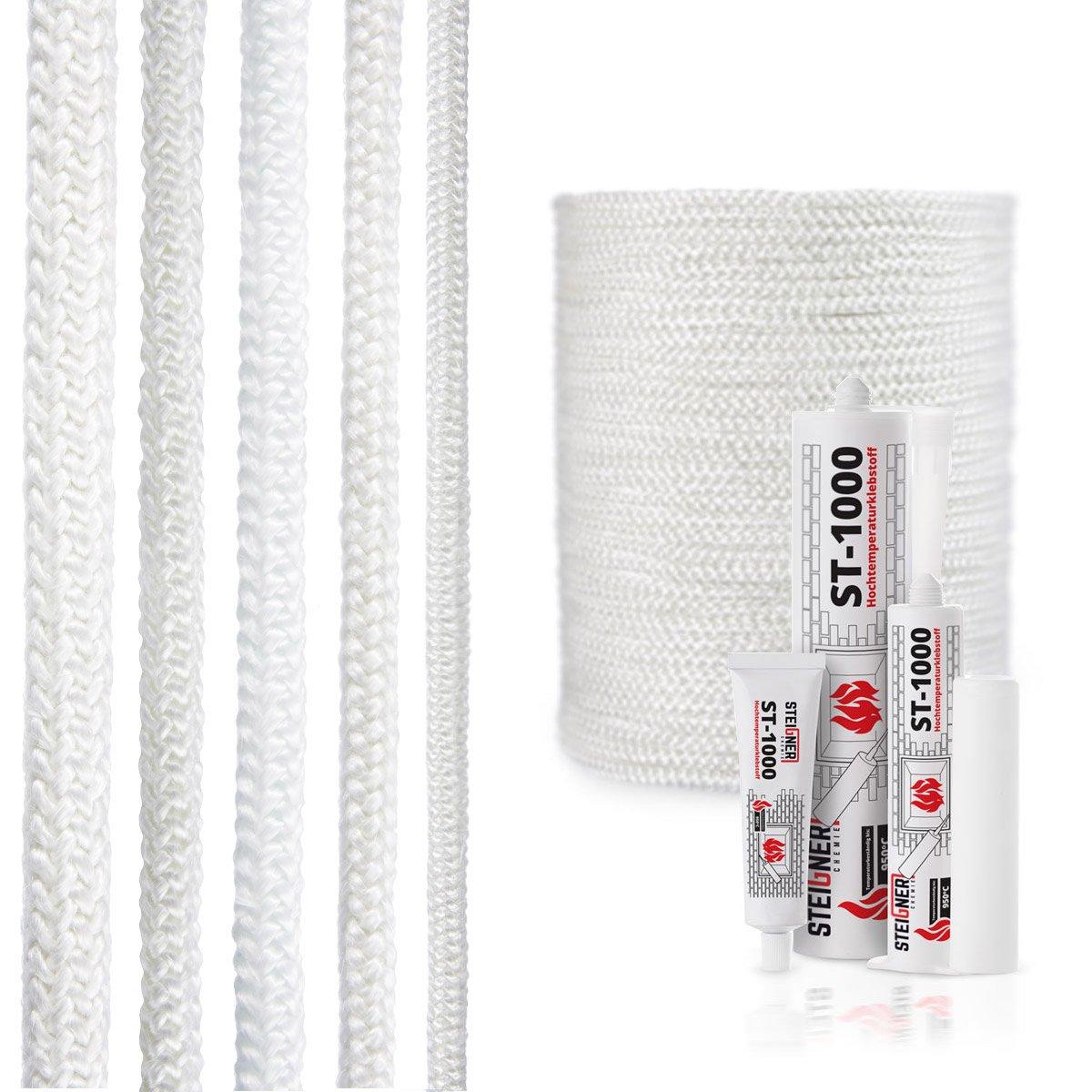 STEIGNER Cordone Isolante in Fibra di Vetro SKD02-12, Bianco con sigillante adesivo per montaggio termico resistente alla temperatura fino a 550°C 2 m, 12 mm