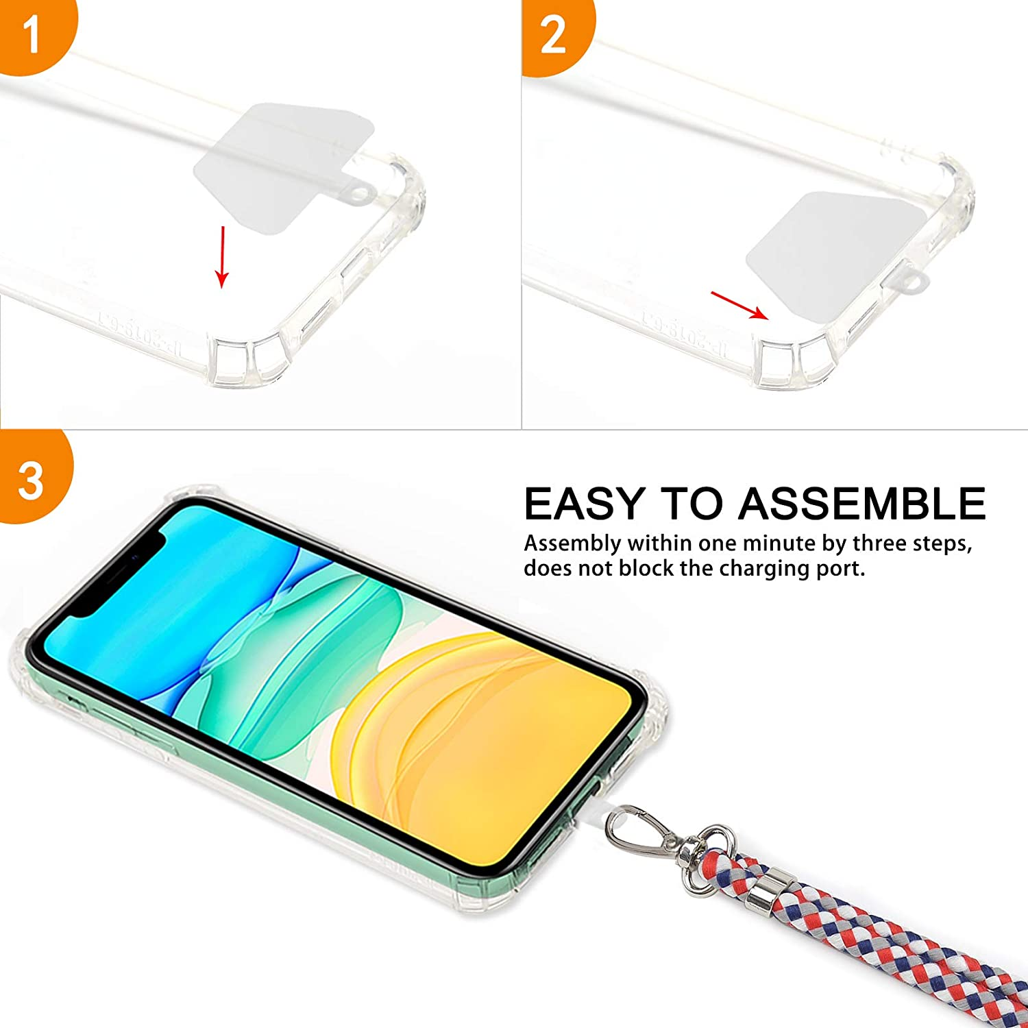 Baby Purple Phone Tether Safety Strap Compatible with Most Smartphones with Full Coverage Case takyu Phone Lanyard Universal Cell Phone Lanyard with Adjustable Nylon Neck Strap