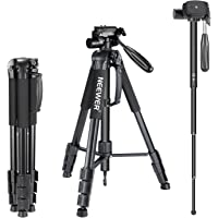 "Neewer Portable Aluminum Alloy Camera 2-in-1 Tripod Monopod Max. 70""/177 cm with 3-Way Swivel Pan Head and Carrying Bag…"